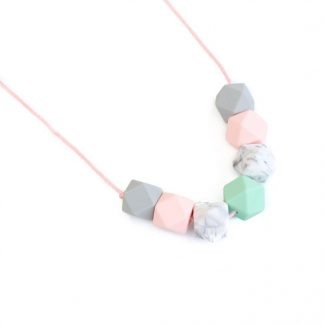 silicone necklace marble pink grey and mint