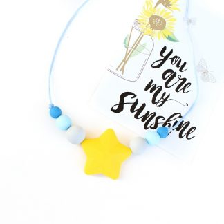 Junior Silicone Necklace Star Yellow