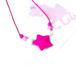 Junior Silicone Necklace Star Hot Pink