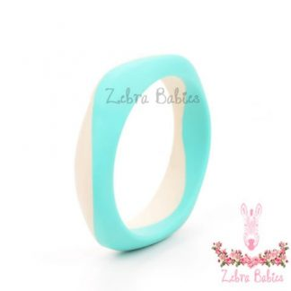 silicone bangle duo turquoise and cream