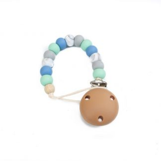 Silicone Dummy Clip - Powder Blue, Grey and Mint